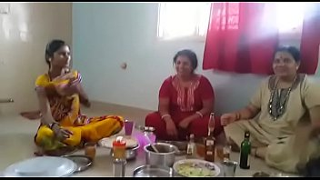 with young desi enjoying servant aunty Austrian old wife