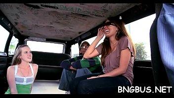asian girl bang bus in gang Two turk men